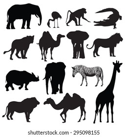 Set of african animals silhouettes. Vector illustration