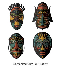 Set of African Ethnic Tribal masks on white background. . Flat icons. Ritual symbols.