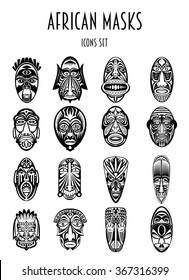 Set of African Ethnic Tribal masks siluetes on white background. Ritual symbols.