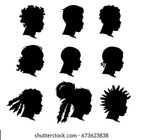 Set of african man face silhouettes over white background, vector.