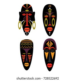 Set of african Mask Icons. Flat vector illustration in bright colors.