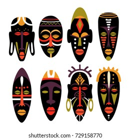 Set of african masks. Flat vector illustration in bright colors.