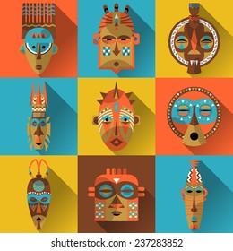 Set of african masks. Vector illustration