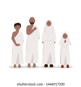 Set of African Muslim Ethnics Wearing Ihram, Hajj Dress Cartoon Illustration