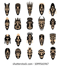 Set of african tribal masks. Ritual symbols isolated on white background. Colorful flat vector illustration.