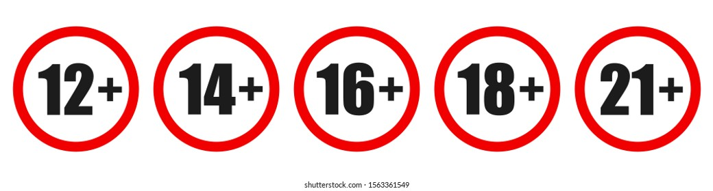 Set of age restriction signs. Age limit concept. Vector illustration. Warning signs