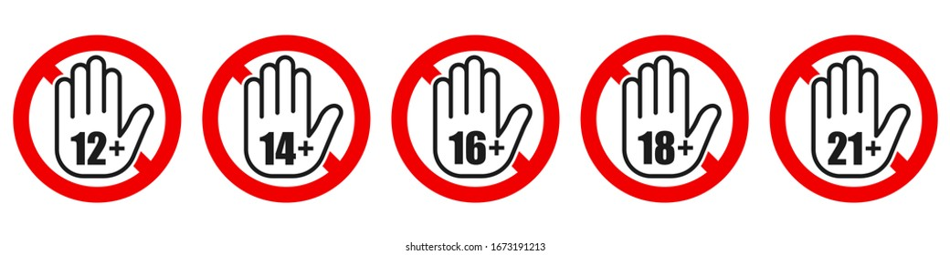 Set of age restriction signs. Age limit concept with hand icon. Vector illustration. Warning signs