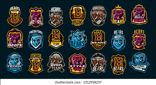 Set of aggressive bear emblems. Sports logo bear. The head of a forest predator, a wild beast. Colorful collection, vector illustration