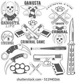 Set of aggressive gang and criminal logotypes. Skulls, crossed knives and pistols, baseball bats, brass knuckles, sample text. Flat graphic style vector image.