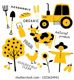 Set of agricultural and farm tools, animals, plants and machinery. Cartoon cow, chicken, tractor, scarecrow. Organic food. Funny doodle hand drawn vector illustration. Isolated on white.