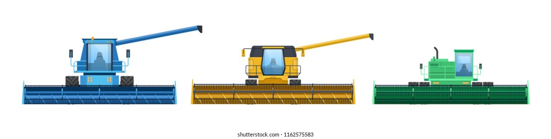Set of agricultural machinery, machines for harvesting, processing of grain. Agro-industrial complex, workers grain-harvesting tractors, transport, combines for farm lands. Vector illustration.