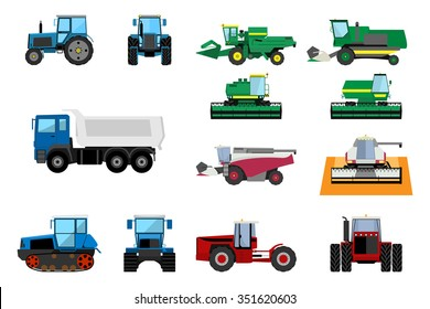 Set of agricultural machinery. Wheeled tractors, track-type tractor, truck and harvesters