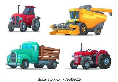 Set of agricultural transport. Farm equipment, tractors, truck and harvester. Industrial vehicles. Cartoon design vector illustration of rural machinery.