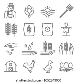 Set of Agriculture and Farming Line Icon. Included the icons as barley, artichoke, barn, fertilizer, gardener, scarecrow, flower, chicken, duck and more.
