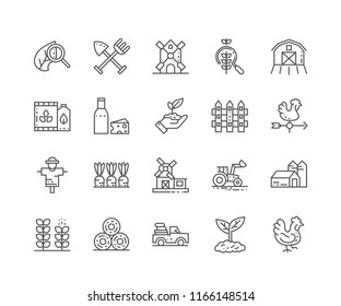 Set of Agriculture outline icons isolated on white background. Editable Stroke. 64x64 Pixel Perfect.
