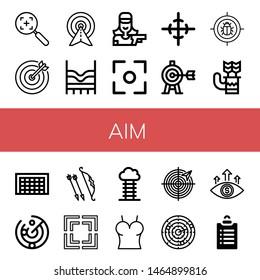 Set of aim icons such as Target, Top, Shooter, Focus, Center of gravity, Quiver, Goal, Radar, Archer, Dart, Goals , aim