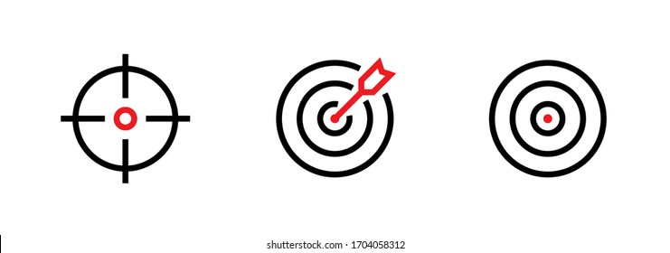 Set of Aim, Target and Goal icons. Editable line vector. Symbol of a gun sight, purpose with a red arrow in the middle. Group pictogram.