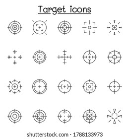Set of Aim & target Related Vector Line Icons. Contains such Icons as crosshair, sniper scope, shooting game, radar and more