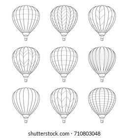 Set of Air Balloon Icons. Vector Illustration. Line Graphic Style. Logo, Banner, Sign, Card, Travel Design. Coloring Book Page Design for Education.