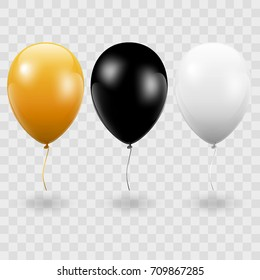 Set. Air Balls. Gold. Black. White Balloons. Transparent background - stock vector