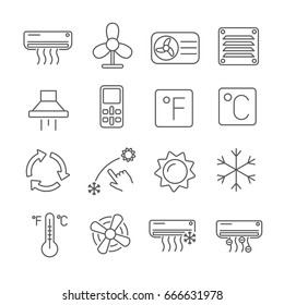 Set of air conditioning Related Vector Line Icons. Contains such icon as air-conditioner,fan, hood, cooling,cold, heat, temperature, air cooling