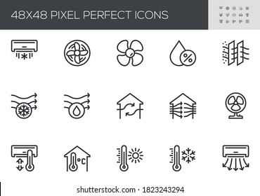 Set of Air Conditioning Vector Line Icons. Air Cooling, Fan, Humidity, Air Circulation, Ventilation. Editable Stroke. 48x48 Pixel Perfect.
