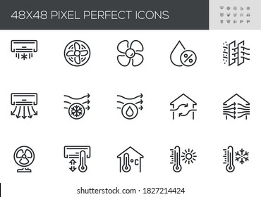 Set of Air Conditioning Vector Line Icons. Air Cooling, Fan, Humidity, Air Circulation, Ventilation. Editable Stroke.