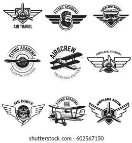 Set of air force, airplane show, flying academy emblems. Vintage planes. Design elements for logo, badge, label. Vector illustration.