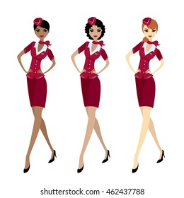 Set Air hostess in uniform, isolated on white, stock vector illustration