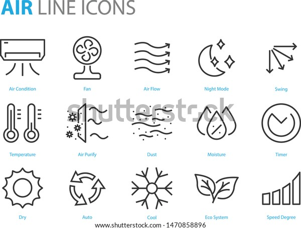 set of air icons, air condition, heater, dust, temperature, purify