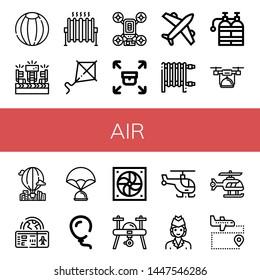 Set of air icons such as Beach ball, Fans, Heat, Kite, Drone, Sending, Airplane, Heater, Oxygen tank, Hot air balloon, Boarding pass, Parachute, Balloon, Fan, Helicopter , air