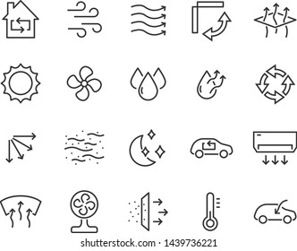 set of air icons, such as air filter, temperature, air purifier, dust