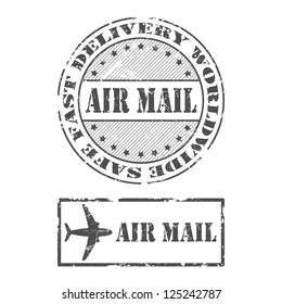 A set of Air mail stamps in grunge style