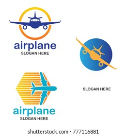 set of air plane logo, travel world logo with text space for your slogan / tag line, vector illustration