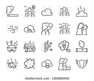 set of air pollution icons, such as, smoke, dust, gas, industry, pm 2.5