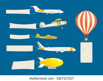 Set of air vehicles concept with white banners. Air vehicles: hang-glider, helicopter, airship, balloon, paraglider, biplane, land glider, amphibian aircraft. Modern vector illustration isolated.