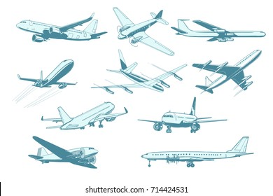 set aircraft air transport isolate on white background. Airplane aviation travel voyage tourism air transport. Pop art retro vector illustration