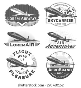 Set of aircraft and air transportation vector labels.Logo templates,badges,emblems,signs black graphic collection.Air voyage,tour,flight promotion and advertising symbols isolated on white background