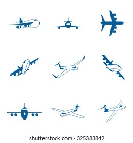 Set with aircraft icons.