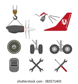 Set of aircraft parts on white background. Flat vector icons set. Aircraft repair. Vector illustration