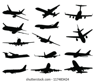 Set of aircraft silhouettes 2-vector