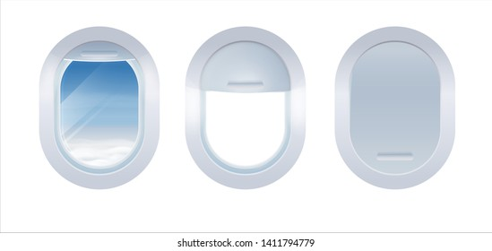 Set of Aircraft windows Isolated on white background. Realistic portholes of airplane from white plastic with open and closed window shades.