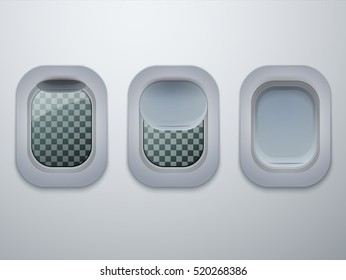 Set of Aircraft windows. Plane portholes isolated. Vector illustration.