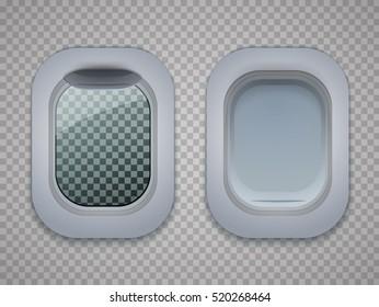 Set of Aircraft windows. Plane portholes isolated on transparent background. Vector illustration.