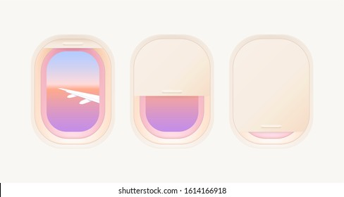 Set of aircraft windows. Portholes of airplane. Interior of aircraft with airplane wing and beautiful gradient sunset of view from window. Vector illustration.