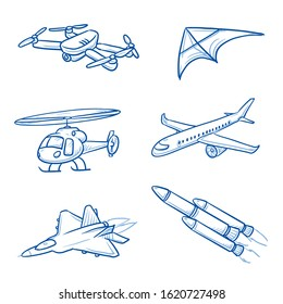 Set of aircrafts, as aeroplane, helicopter, kite, drone, jet and rocket. Hand drawn line art cartoon vector illustration.