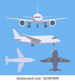 Set of aircrafts. Top, side, front, bottom view of plane. Vector.