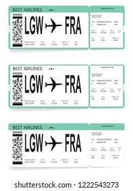 Set of airline boarding pass tickets on white background. Vector illustration.