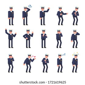 Set of airline pilot characters showing various emotions. Pilot laughing, angry, tired, thinking, sleeping and showing other expressions. Minimal design vector illustration