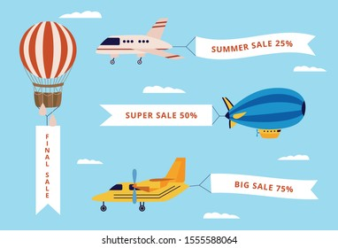Set of airplane, airship and balloon with banners with text. Flat cartoon vector illustration of flying vehicles .